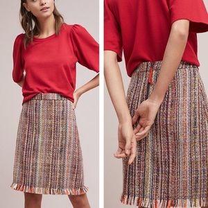 Anthropologie Maeve Fringe Tweed A Line Skirt 14